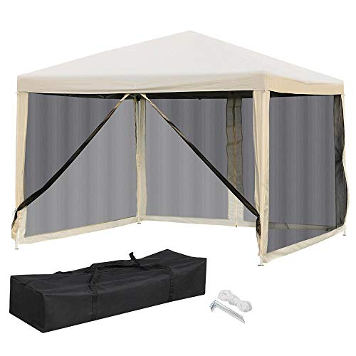 Yaheetech 10x10 Pop Up Canopy Tent - Instant Sun Shelter with Mesh Sidewalls 2 Zipper Doors and Carry Bag for Outdoor/Garden/Camping/Patio Beige