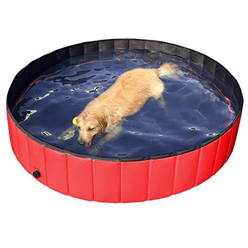 Yaheetech Hundepool Doggy Pool Haustierpool Katzenpool Schwimmbad Wasserbad PVC-rutschfest mit Ablassventil 160x30 cm