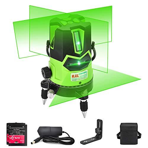 Livella laser multilinea a raggio verde - Laser autolivellante automatico Quattro linee verticali e una orizzontale con punto a piombo, base girevole a 360 °, modalità inclinazione e esterno