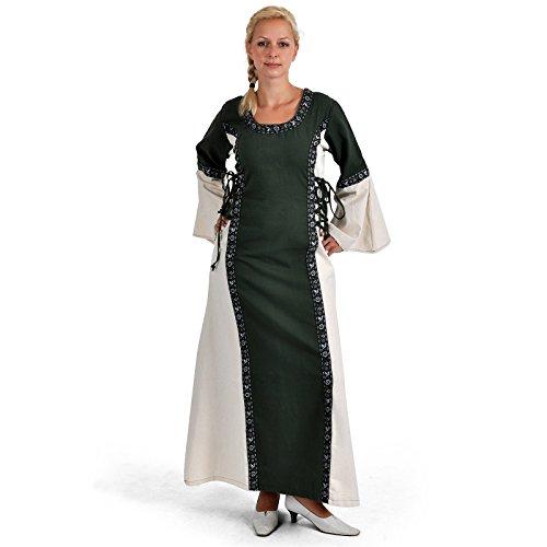 Battle-Merchant Mittelalter Kleid - Ella mit Bordüre, grün/Natur aus Baumwolle für Mittelalterkleid, LARP, Wikinger Größe XXL