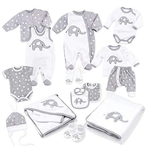 Baby Sweets Baby Erstausstattung Unisex Weiß Grau im Motiv: Little Elephant als Baby Set mit 15 Teilen für Neugeborene & Kleinkinder für die Größe: Newborn (56)