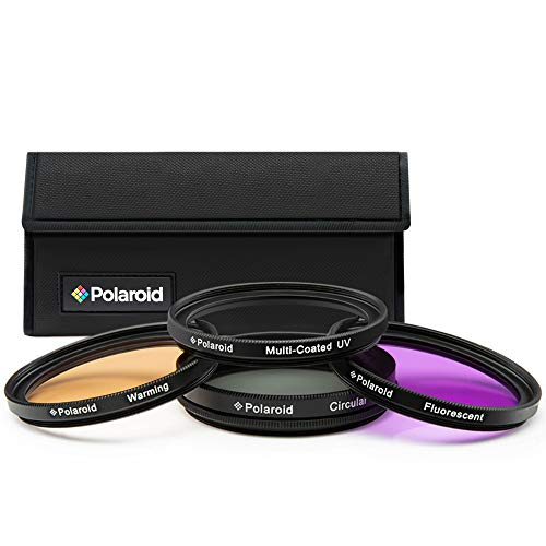 Set Polaroid con 4 filtri in vetro HD multirivestiti: protezione UV, polarizzazione circolare, FLD, filtro caldo e custodia per filtri