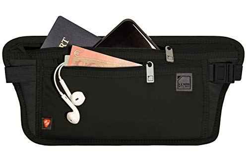 Lewis N. Clark RFID Blocking Money Belt Travel Pouch Waist Stash + Credit Card, Id, Passport Holder for Women & Men, Black, One Size