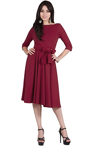 Viris Zamara Womens 3/4 Sleeve Boat Neck with Belt Modest Elegant Formal Work Cute Midi Dress