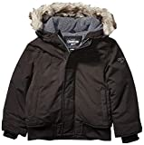 Midweight jacket coat Black bomber with detachable faux fur trim and polar fleece in hood and upper body weave type: Woven
