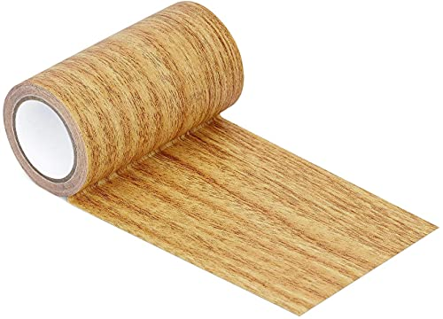 Azobur Repair Tape Patch 3.9'x15' Wood Textured Adhesive for Door Floor Table and Chair (Natural Oak)