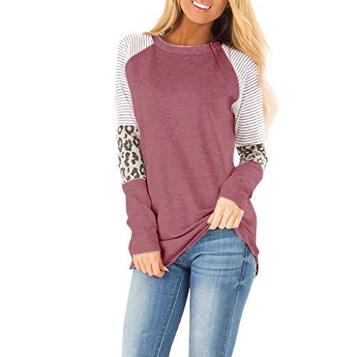YBWZH Oberteile Tunika Damen Einfarbiger Pullover Leopardenmuster Langarmshirts mit Rundhals Freizeit Blusentops Damenoberteile Locker Gestreifte Sweatshirt Tank Top T-Shirt Bluse
