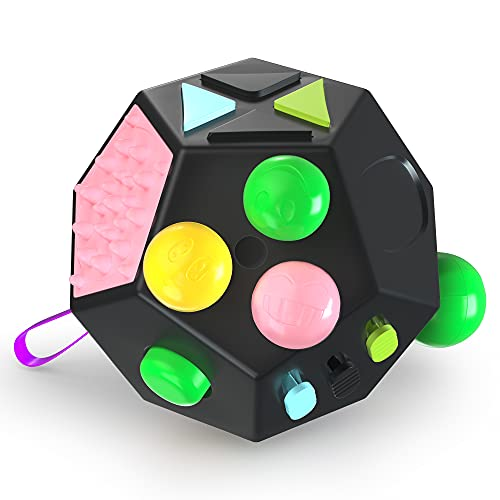 VCOSTORE 12 Sided Fidget Cube, Dodecagon Fidget Toy for Children and Adults, Stress and Anxiety Relief Depression Anti with ADHD ADD OCD Autism (Black)