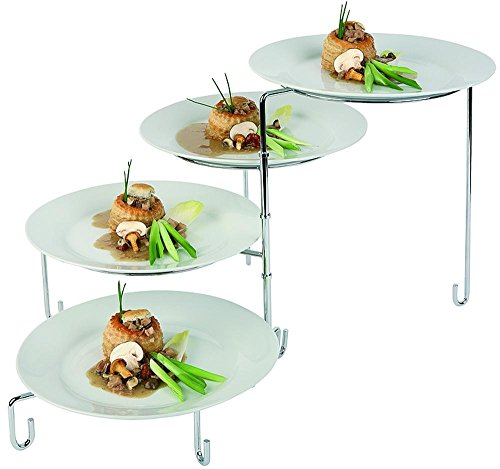 APS 33225 Serviergestell ca. Ø 34cm, H 37cm (geschl.) Metall hartverchromt für 4 Teller (Ø 24-31cm), platzsparend zusammendrehbar bietet viele Möglichkeiten zur Präsentation von Speisen