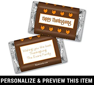 Thanksgiving Personalized Hershey's Miniatures Wrappers Happy Turkeys (100 Wrappers) Brown