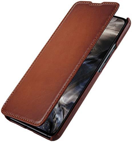 StilGut Book Hülle entwickelt für OnePlus Nord Hülle aus Leder zum Klappen, Klapphülle, Handyhülle, Lederhülle, dünn - Cognac Antik