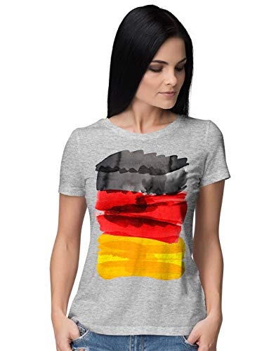 BLAK TEE Damen National German Flag Painting Watercolour Novelty Nationale deutsche Flagge T-Shirt L