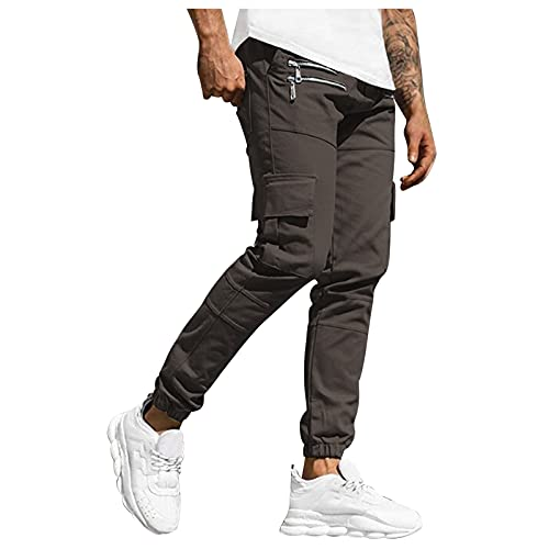 Jogger Sweatpants for Mens Simple Fashion Athletic Pant Stretch Slim Fit Solid Tapered Trousers Multi Pockets Activewear Gray