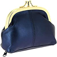 KARL LOVEN Leather Women's Purse Coin - Lambskin Women's Wallet - Retro - 3 Compartments for Coins - Banknotes - Blue...