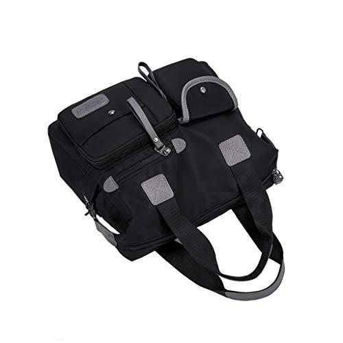 TwoCC für Jingpinpiju Frauen Umhängetasche Mode Nylontasche Wasserdicht Lässige Reisetaschen(Schwarz)