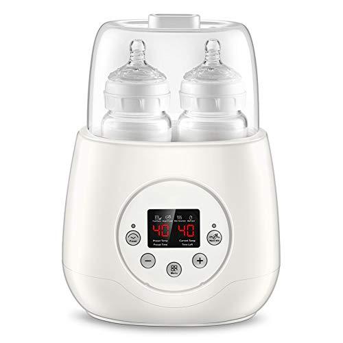 Calienta Biberones Esterilizador Biberon Calentador de Alimentos para bebé, Diseño de Botellas Dobles 5 en 1 Eléctrico Digital Termostato Inteligente Calentador con Pantalla LED