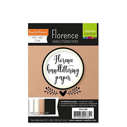 Vaessen Creative Florence Handlettering Papier, DIN A5, 216 g/m², 60 Blatt in Weiß, Elfenbein, Kraftbraun und Schwarz für Kalligraphie, Lettering und Schönschreiben