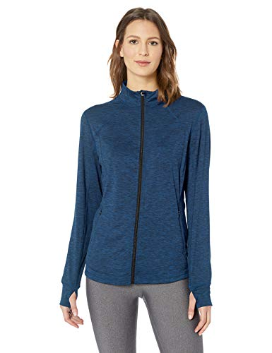 Amazon Essentials Women's Brushed Tech Stretch Full-Zip Jacket, Navy Space dye, Medium