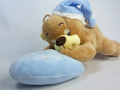 3320Blau, schlafender Plüschbär 37 cm mit Blauer Schlafmütze, liegend auf blauem Herzkissen, schön weich, schön zu kuscheln, träumender Bär