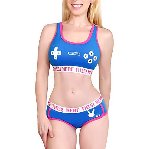 LittleForBig Damska Bawełna Kamizelka i majtki Sportowy komplet bielizna nocna-Bunnywatch Bralette Set XL