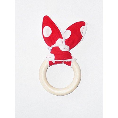 Hochet anneau de dentition oreilles de lapin en coton - POIS -