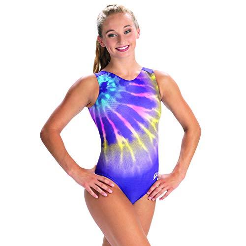GK Girls Gymnastics Leotard V-Neck Show Tank (Watercolor Fade, AS)
