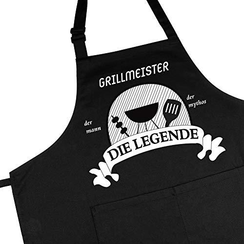 adakel Grillschürze schwarz, Arbeitsschürze & Kochschürze Witziges Geschenk für Männer zum Vatertag Weihnachten oder Geburtstag –Grillmeister