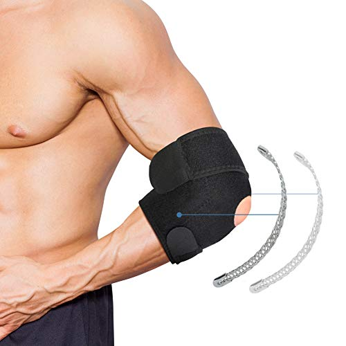 Elbow Brace, Tennis Elbow Strap Adjustable Elbow Support Sleeve with Dual-Spring Stabilizer and Adjustable Straps for Arthritis, Tendonitis, Tennis Elbow, Sports Injury Pain Relief