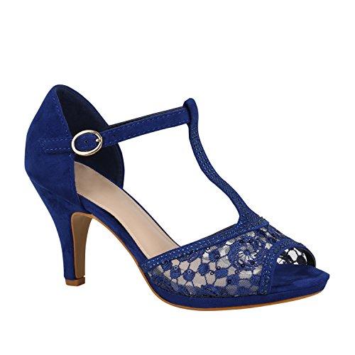 Damen Schuhe Riemchensandaletten Sandaletten High Heels Glitzer 156071 Blau Velours 37 Flandell
