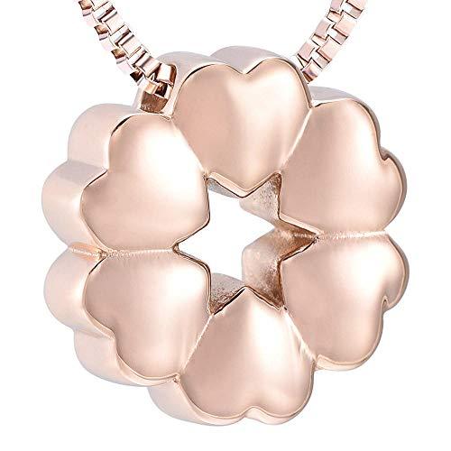 Collar De Urna De Cremación Collar De Urna De Cremación Para Mujer, Colgante De Urnas De Recuerdo De Flor De Corazón Encantador, 1 Uds., Oro Rosa