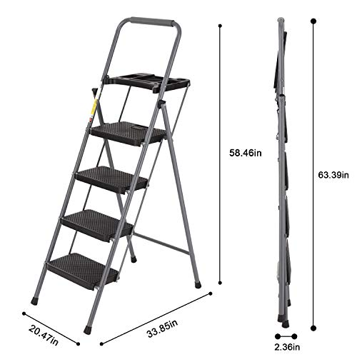 CharaVector 4 Step Ladder, Lightweight Folding Step Stool with Tool Platform and Convenient Handgrip, Sturdy Wide Pedal for 330 lbs Capacity