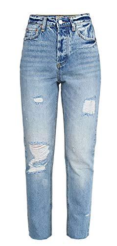 XinXinFeiEr Estiramiento Alta Cintura Pantalón De Mezclilla Desgastado Rectas Pantimedias Abertura De La Pierna Casual (Color : Shallow Blue, Size : 40)