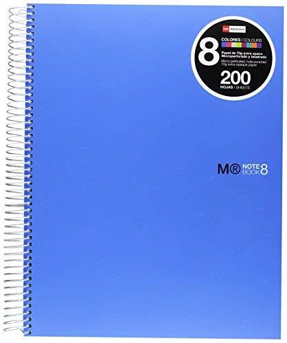 Miquelrius - Cuaderno A4, 200 Hojas (Franjas de 8 Colores), Rayado Horizontal 7 mm, Tapa de Polipropileno, color Azul
