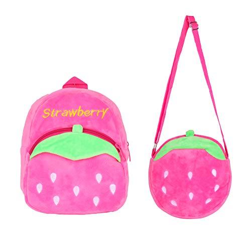 Kinder Rucksack,Kleine Mädchen Junge Kleinkind Mini Rucksack, Bequeme Weiche Tasche Geschenk für 1-5 Jahre alte Kinder für Outdoor/Sports/Camping/Picknick Rucksäcke (Erdbeer-Set)