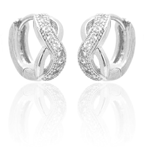 2LIVEfor Infinity Creolen Silber Ohrringe Silber Unendlich Elegant verziert Barock Antik Rund Creole Liebe Design Ornamente Creolen Glitzer Steine Kristalle (Silber)