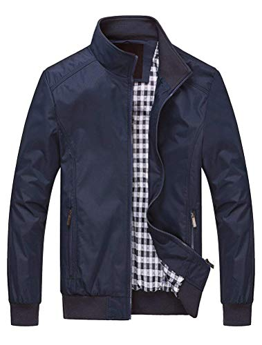 Lavnis Herren Bomberjacke Übergangsjacke Leichte Jacke Casual Mäntel mit Stehkragen Style1 Dark Blue L