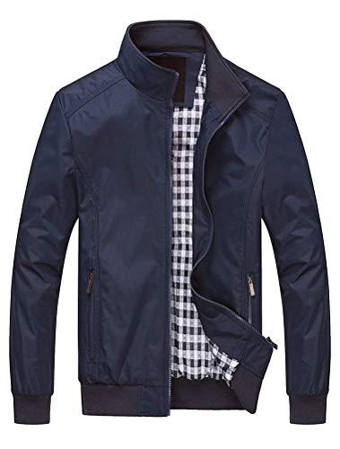 Lavnis Herren Bomberjacke Übergangsjacke Leichte Jacke Casual Mäntel mit Stehkragen Style1 Dark Blue 3XL
