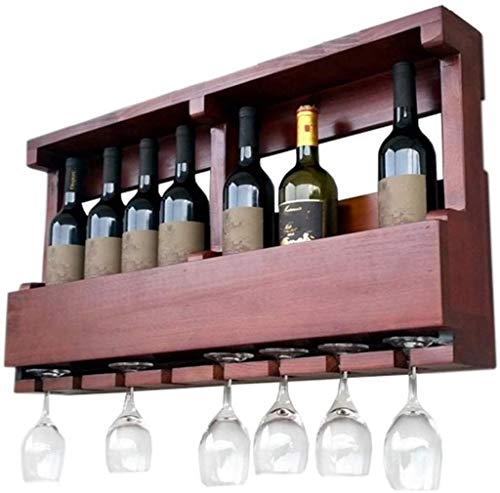 Wine Rack Free Standing in legno a parete Cabinet, Vintage Champagne Bottle Holder bagagli Scaffale, Contiene 8 bottiglie di vino e 8 bicchieri, marrone-rosso, L80xD13xH42cm