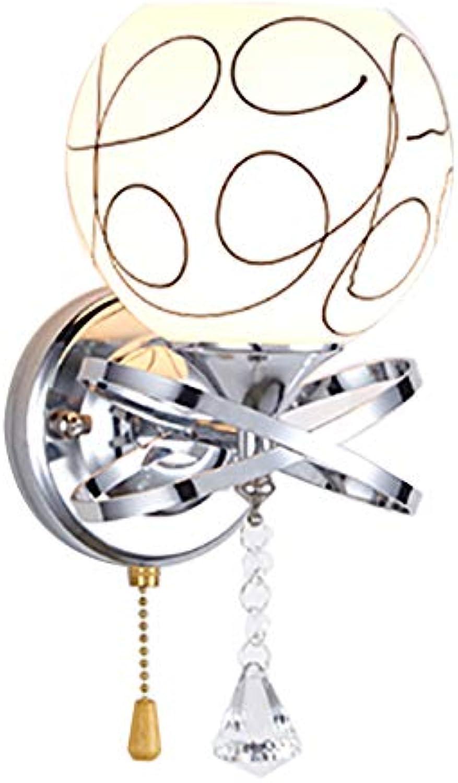 Wandleuchte- Kristall Wandlampe - Moderne minimalistische Wandlampe Ganglampe Treppen Flurlampe Nachttischlampe Dekoration Schlafzimmerlampe (Farbe   Single head cable pull switch)