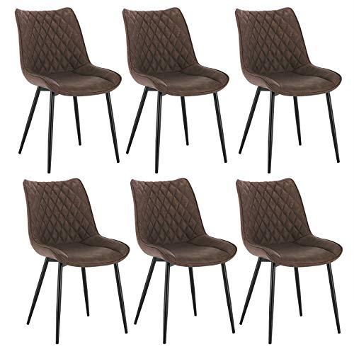 WOLTU® Esszimmerstühle BH210br-6 6er Set Küchenstuhl Polsterstuhl Wohnzimmerstuhl Sessel mit Rückenlehne, Sitzfläche aus Kunstleder, Metallbeine, Antiklederoptik, Braun