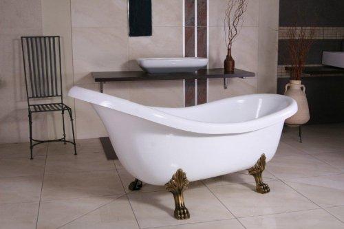 Casa Padrino Freistehende Badewanne Jugendstil Sicilia Weiß/Altgold 1740mm - Barock Badezimmer -...