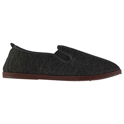 Slazenger Herren Kung Fu Canvas Sneaker Slipper Anthrazit 42