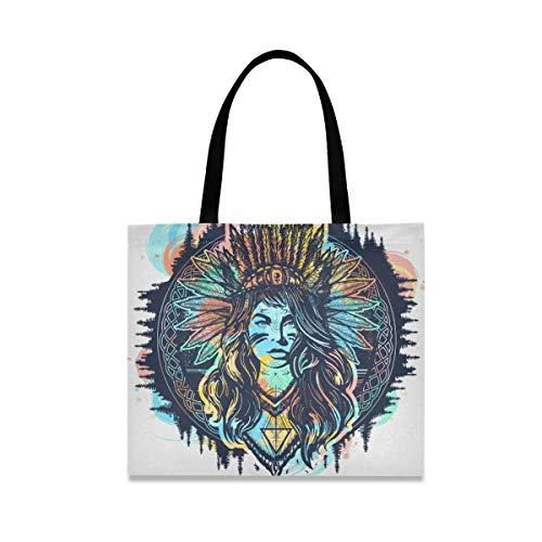 ALARGE Bolsa de lona tribal abstracta africana egipcia, grande, informal, para ir de compras, para mujeres y niñas