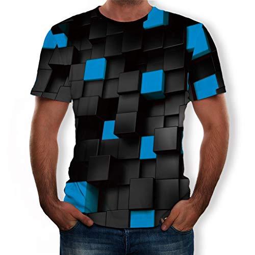 FRAUIT T-Shirt Herren 3D Druck Rundhals Kurzarm Shirt Lässig Shirt Sommer Top Weich Bequem Oberteil Kleidung Bluse Mode Streetwear (U-Blau, M)