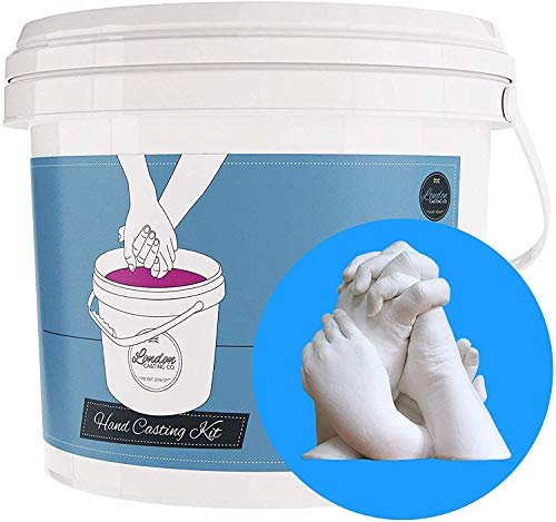 XL Family 3D Casting kit - Holding Hands Sculpture - White Rubber Mould & Plaster of Paris – Keepsake Gift for Families - London Casting Co. (Large 2 Adult + 2 Child Hands))