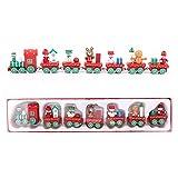 Mini Tren Navidad de Madera Tren de Navideño Caravana de Madera con 6 Vagones Adornos de Madera Miniatura Tren de Navidad para Decoración del Árbol de Navidad Mesa Jardín Niños Feliz Regalos Festivo