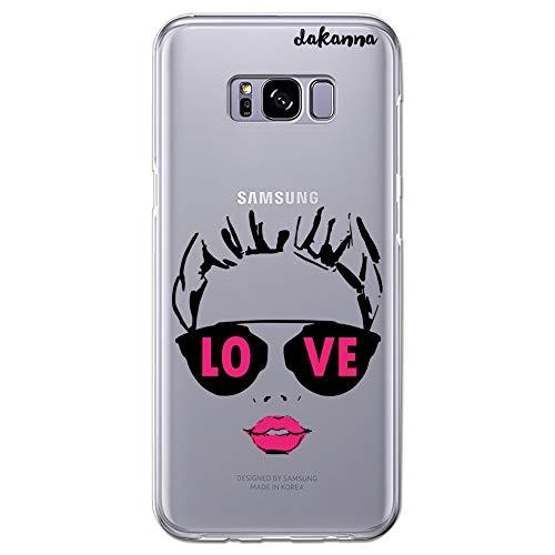 dakanna Funda para [Samsung Galaxy S8 Plus] Dibujo: Chica con Labios Rosas y Frase: Love, Carcasa de Gel Silicona Flexible [Fondo Transparente]