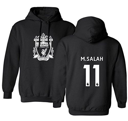 Tcamp Liverpool #11 Mohamed Salah Premier League Men's Hooded Sweatshirt (Black, Adult Large)