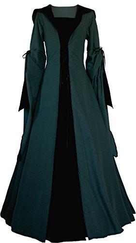 Dornbluth Damen Mittelalterkleid Milienn Ivy (40/42 kurz, Dunkelgrün-Schwarz)