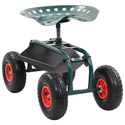 vidaXL Garten Rollwagen mit Werkzeugablage Gartensitz Rollsitz Gartenwagen Gartenhocker Gartenhelfer Sitzhilfe Sitzwagen Grün 78x44,5x84cm
